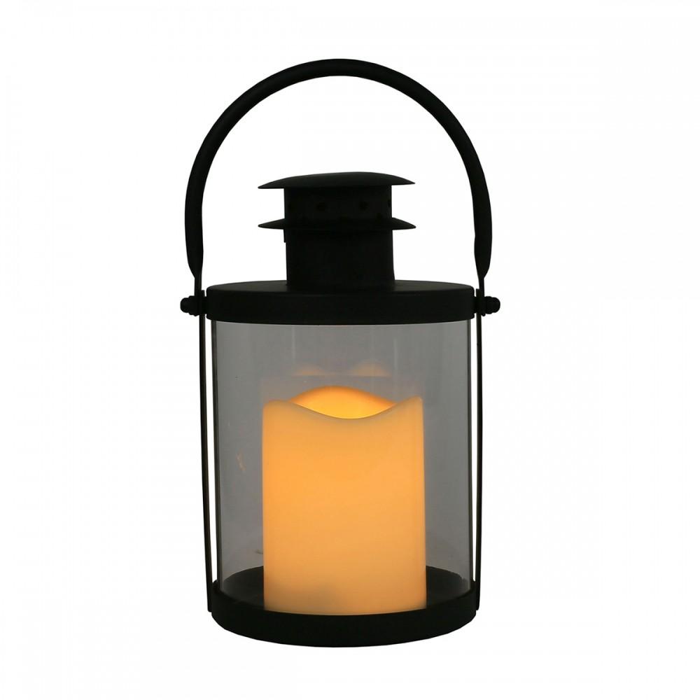 Lanterna de Metal e Vidro com Vela de Led 26cmx15cmx15cm