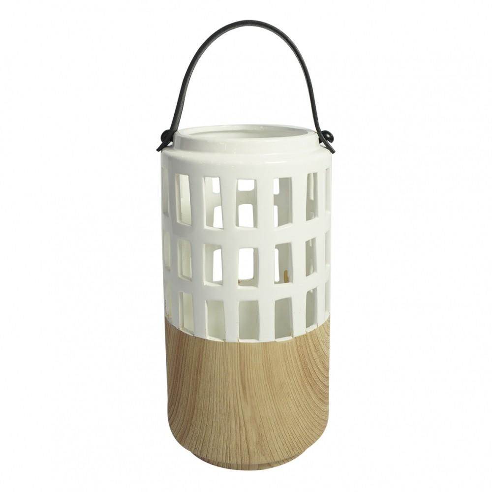 Lanterna De Resina Branca 24cmx12cmx12cm