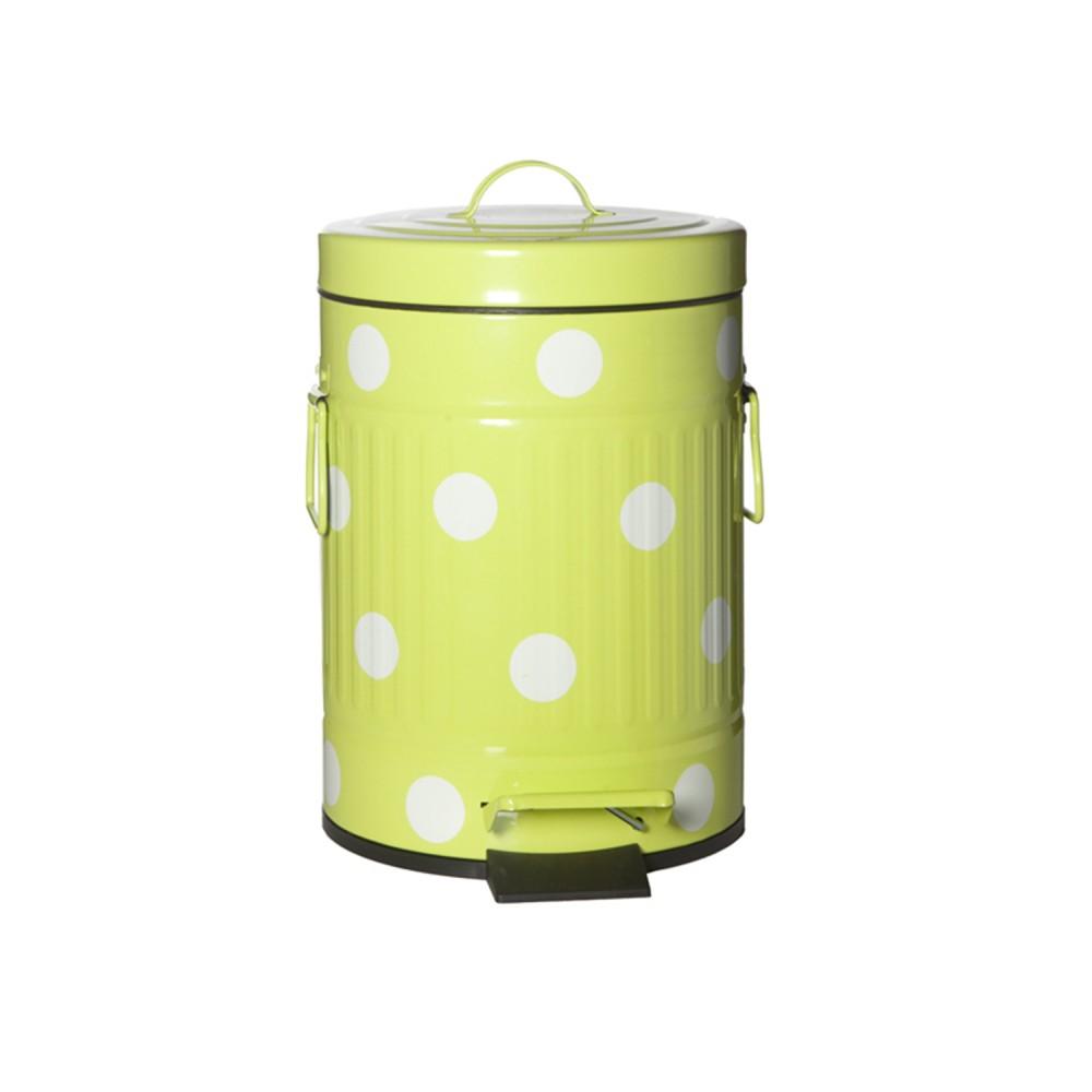 Lixeira Metal Cute Dots Pois  Pedal Amarelo 20cm x 31cm  5L