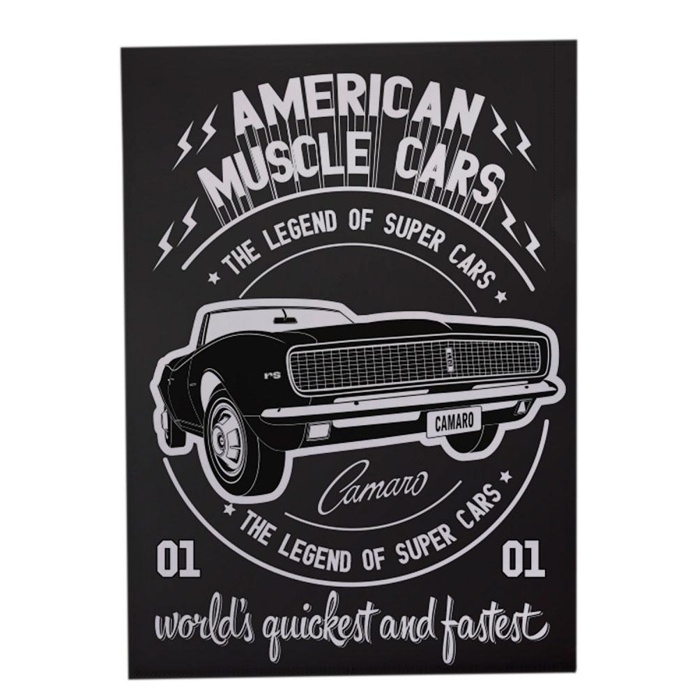 Pasta L Plástico PP GM American Muscle Cars Preto