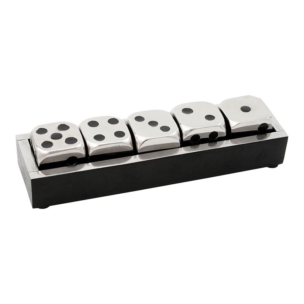 Peça Decorativa De Metal Com 5 Dados e 1 caixa  23cmx06cmx05cm