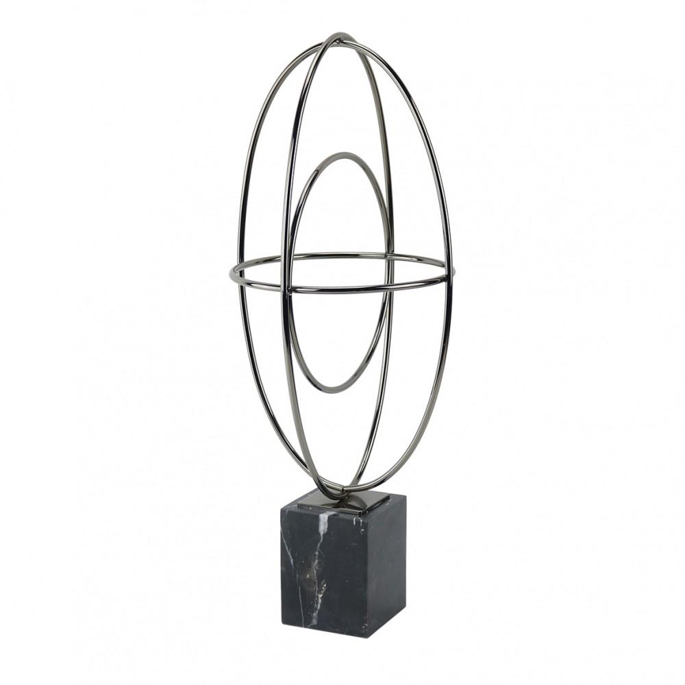 Peça Decorativa Marmorizada  Prata Art Oval 49cmx19cm x21cm