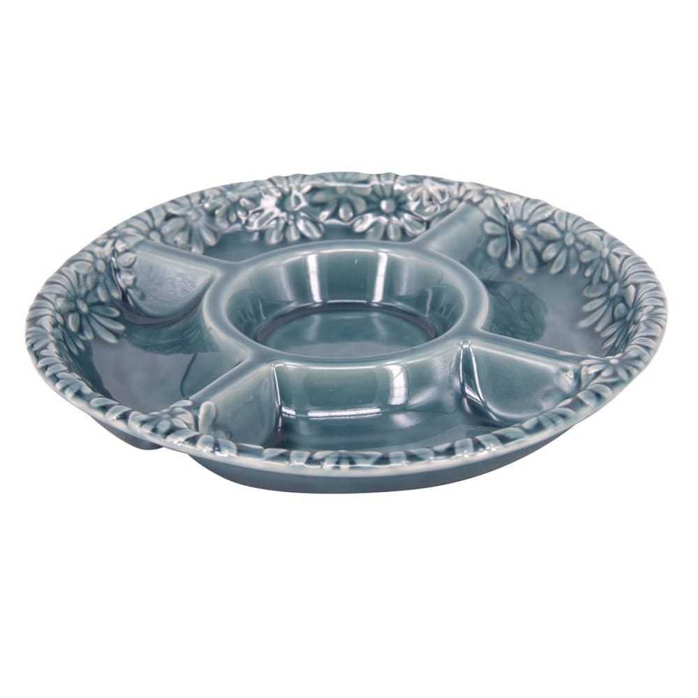 Petisqueira Oval Em Porcelana Azul 26,5cmx03cm