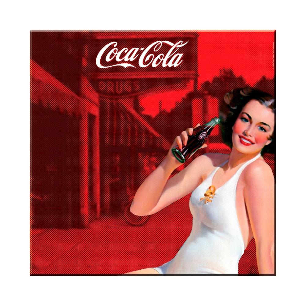 Placa magnética coca-cola metal pin up brunette lady