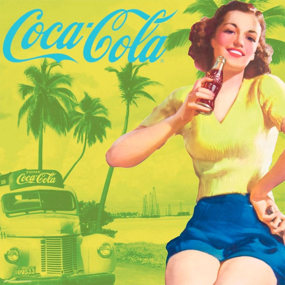 Placa magnética Coca-cola Pin up Brown Lady Amarela
