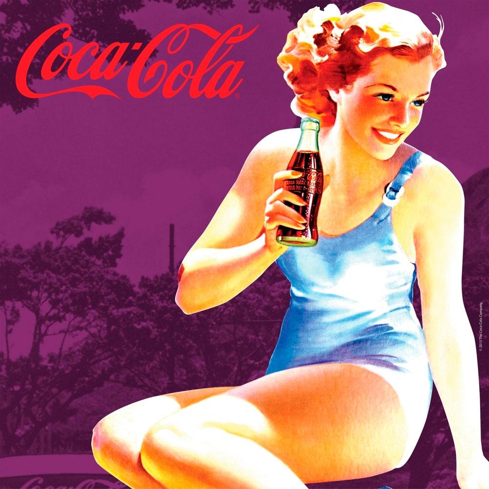 Placa magnética Coca-cola Pin up Brown Lady Roxa