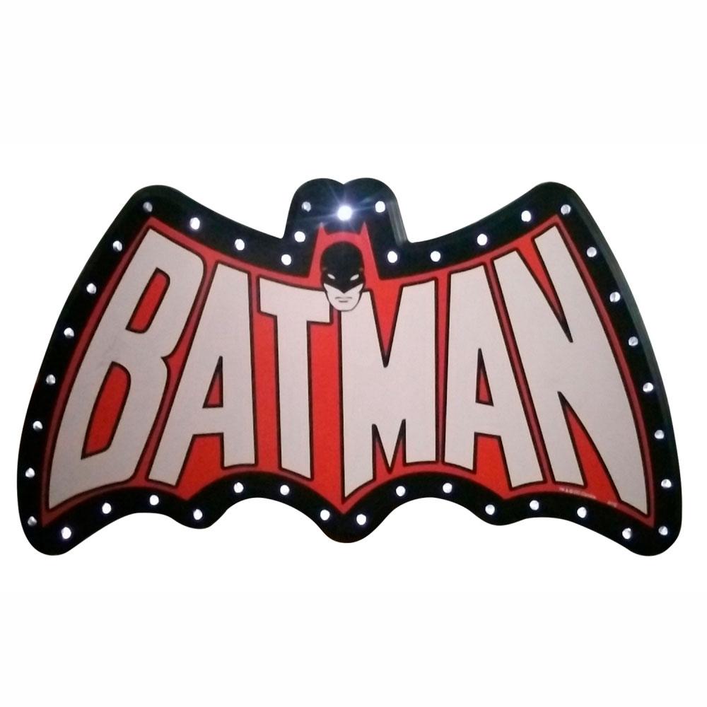 Placa MDF Led DCO Batman Preta Vermelha