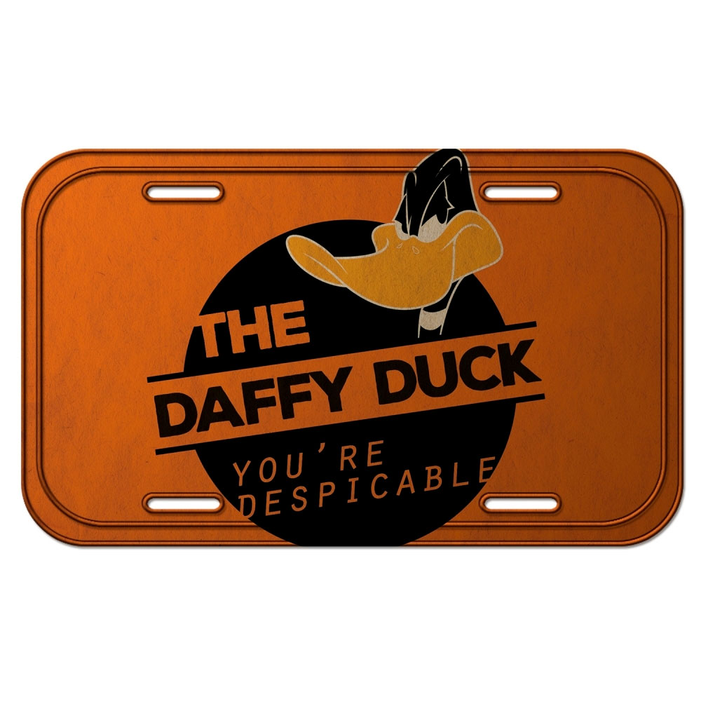 Placa Parede Metal Looney Daffy Duck Despicable Laranja