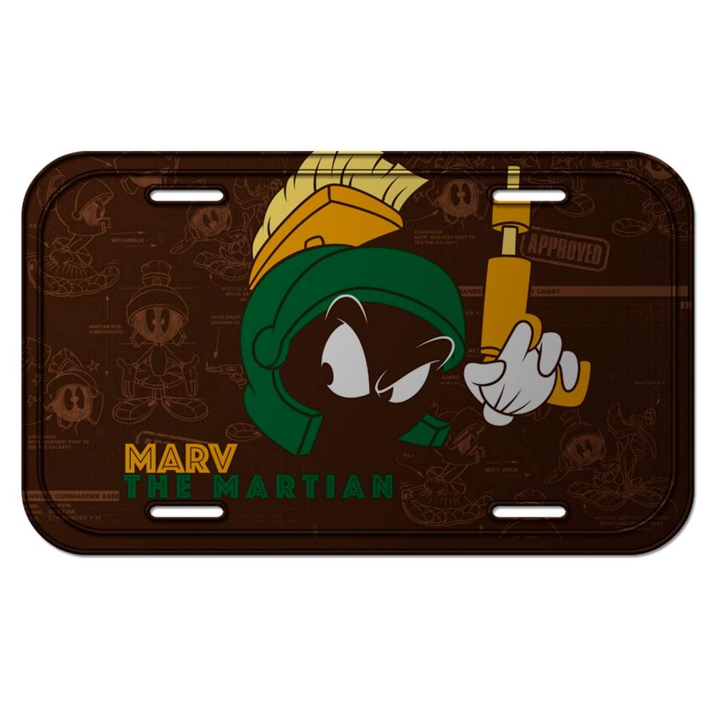 Placa Parede Metal Looney Marvin The Martian FD Preto