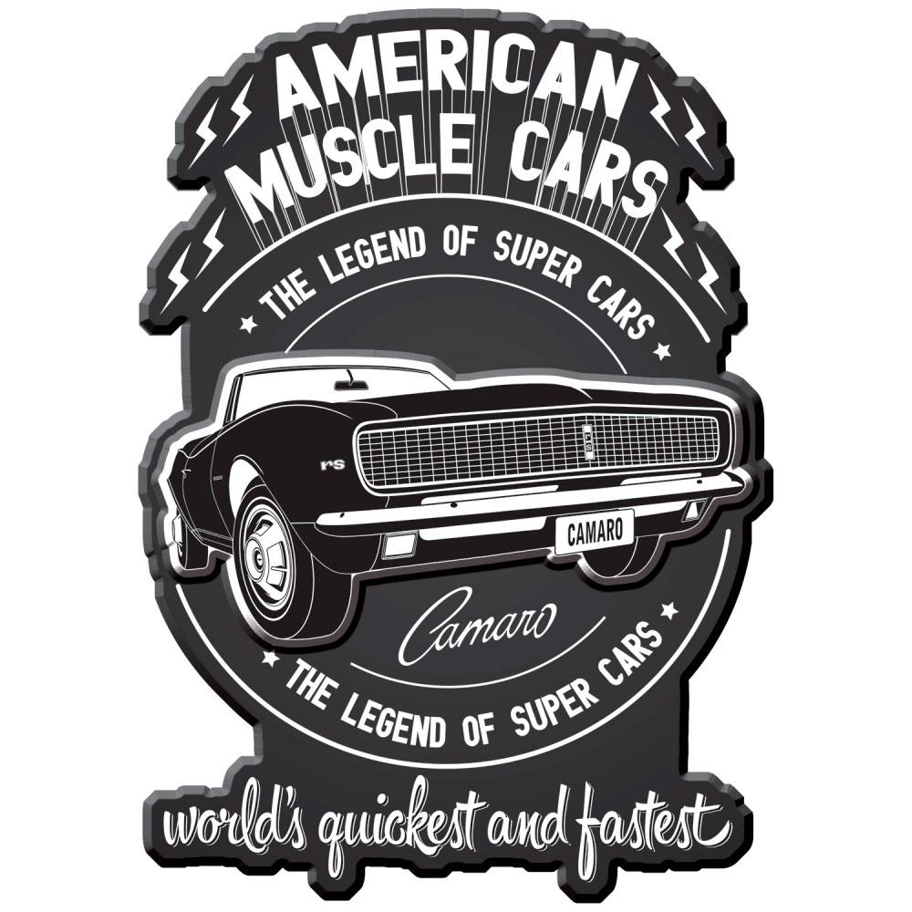Placa Parede Metal Recortada GM American Muscle Car