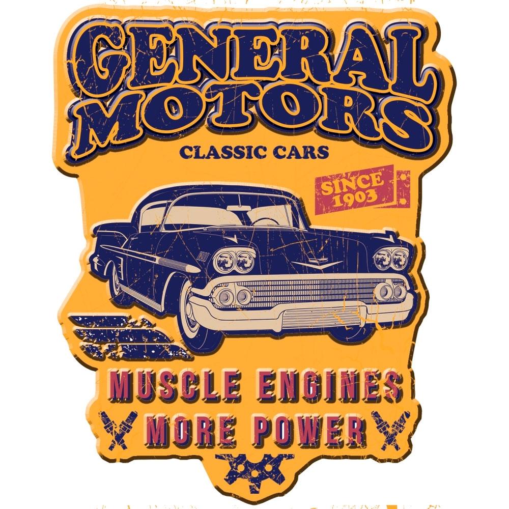Placa Parede Metal Recortada GM Classic Car