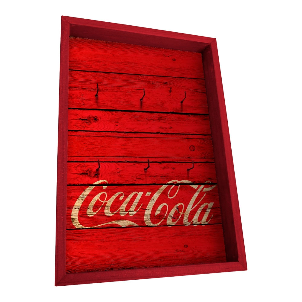 Porta chave coca-cola madeira wood style