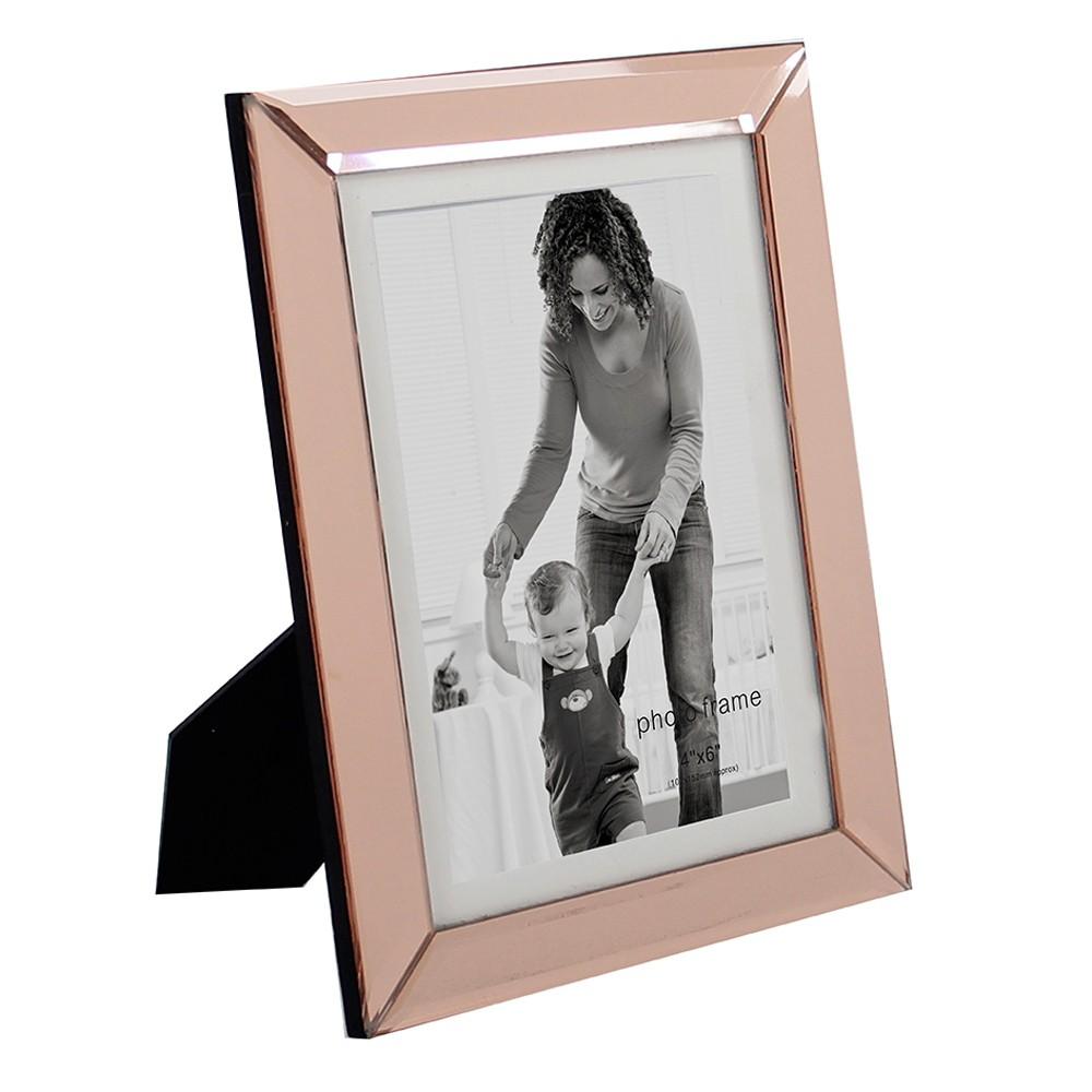 Porta Retrato em Vidro e Metal Cobre 21cm x 16cm