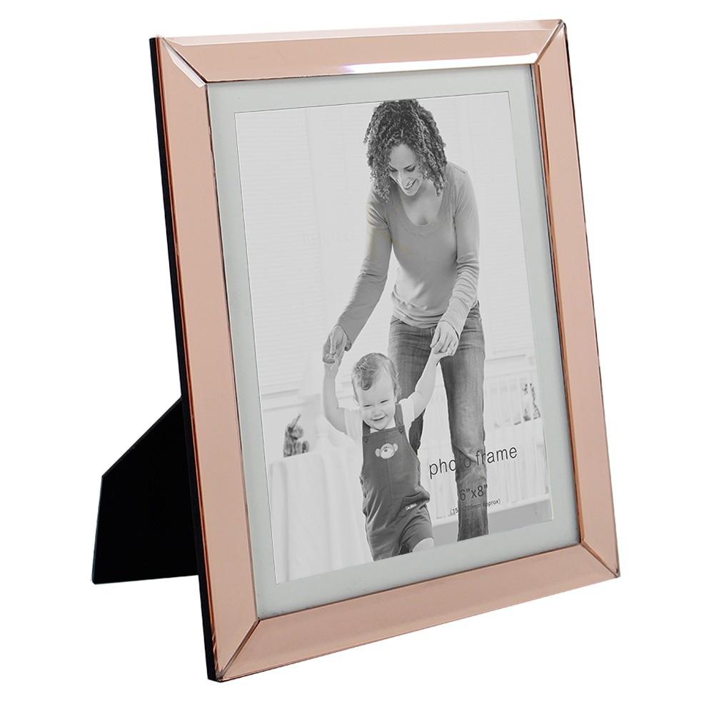 Porta Retrato em Vidro e Metal Cobre 26cm x 24cm