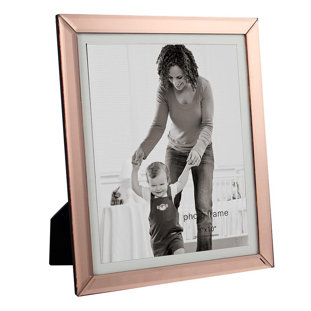 Porta Retrato Em Vidro e Metal Cobre 31cmx26cm