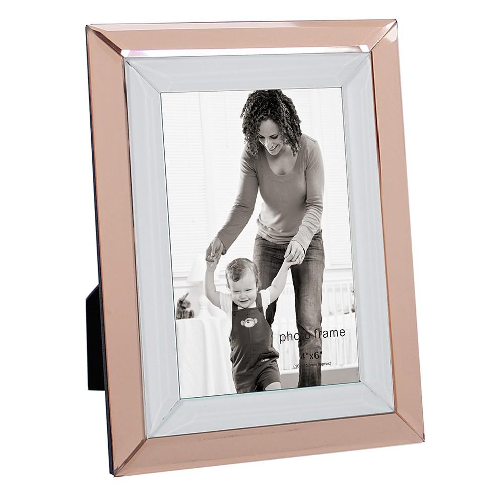Porta Retrato Em Vidro e Metal Cobre e Prata 20cmx15cm