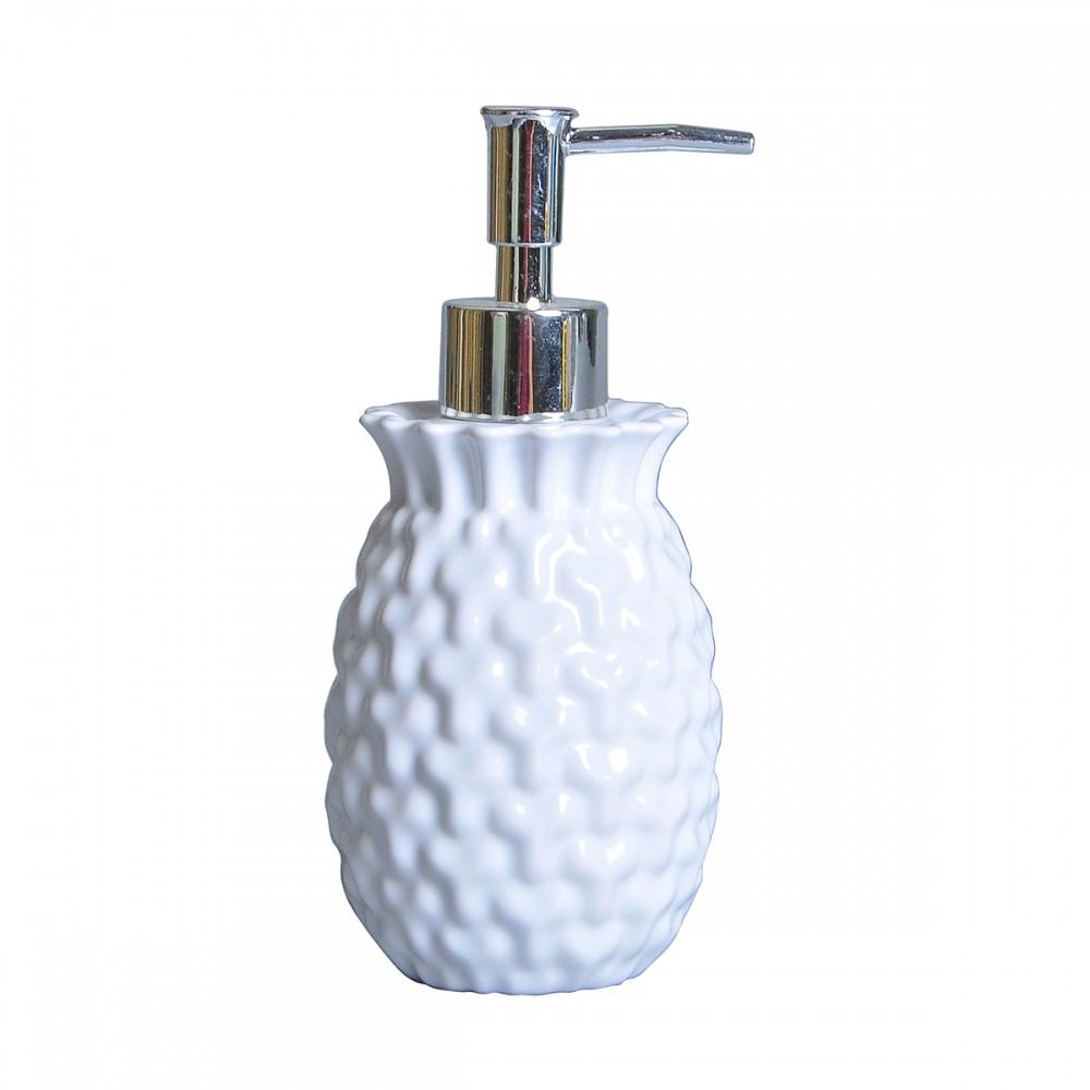 Porta Sabonete Líquido Cerâmica Branco 18Cmx8cm