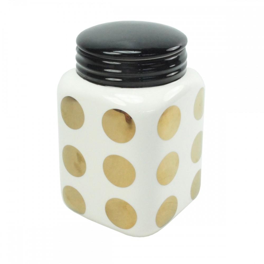Pote De Cerâmica Branco e Dourado 16cmx17cm x16cm