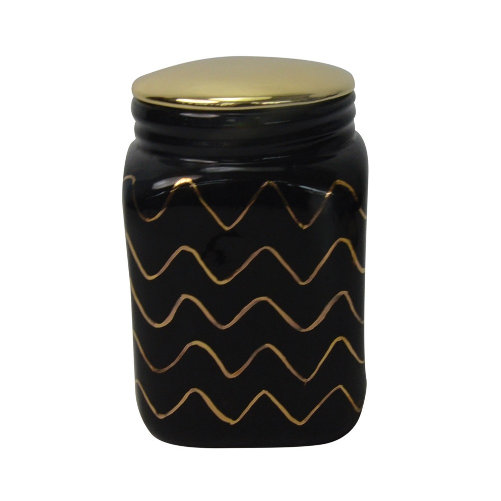 Pote De Cerâmica Preto com Dourado 16cmx11cm x11cm