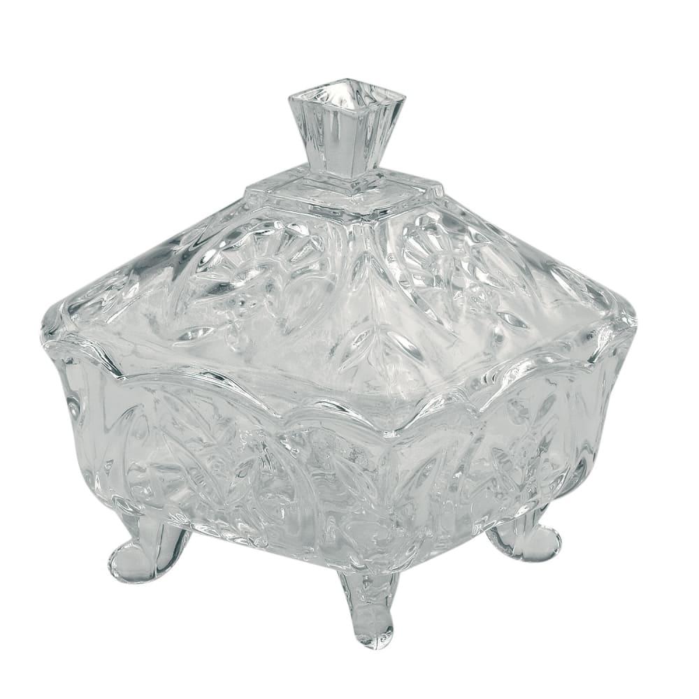 Pote De Vidro Com Tampa Clássico  17cmx15cm x15cm