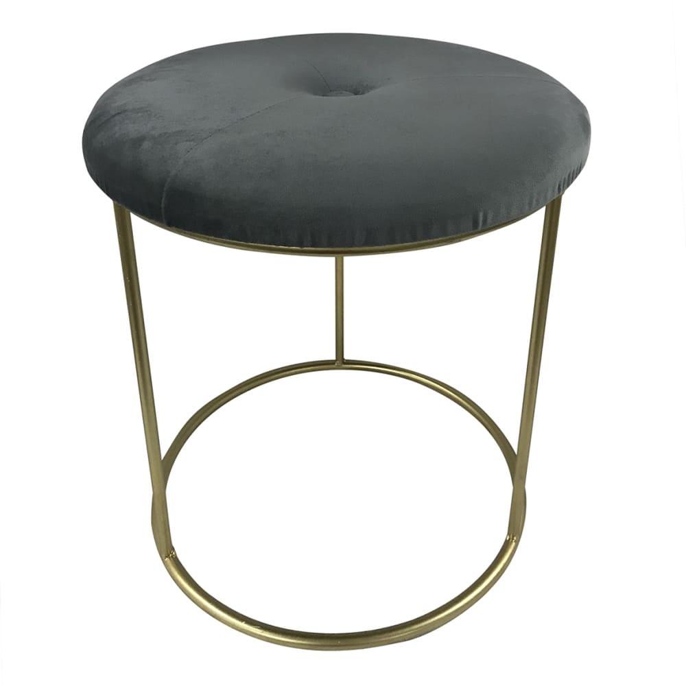 Puff Banqueta Oval De Veludo Cinza 40cmx35cmx35cm