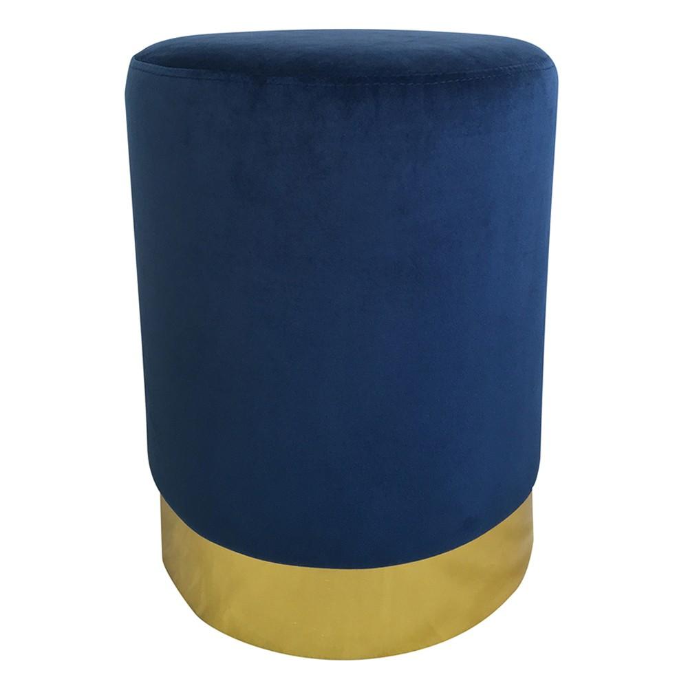 Puff  De Metal e Veludo Azul e Dourado 45cmx35cmx35cm