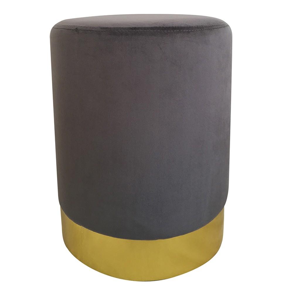 Puff  De Metal e Veludo Cinza e Dourado 45cmx35cmx35cm