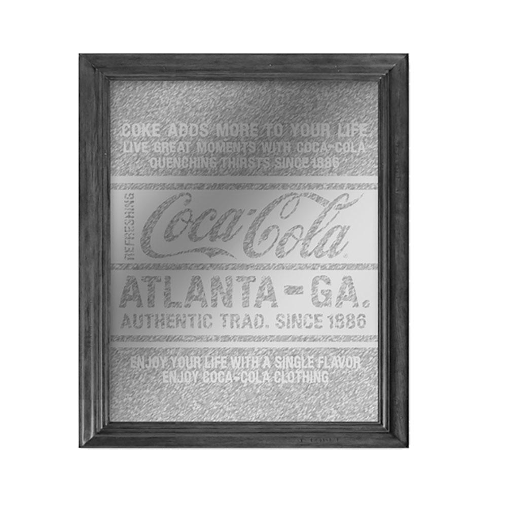 Quadro espelho madeira/vidro Coca-cola Atlanta since