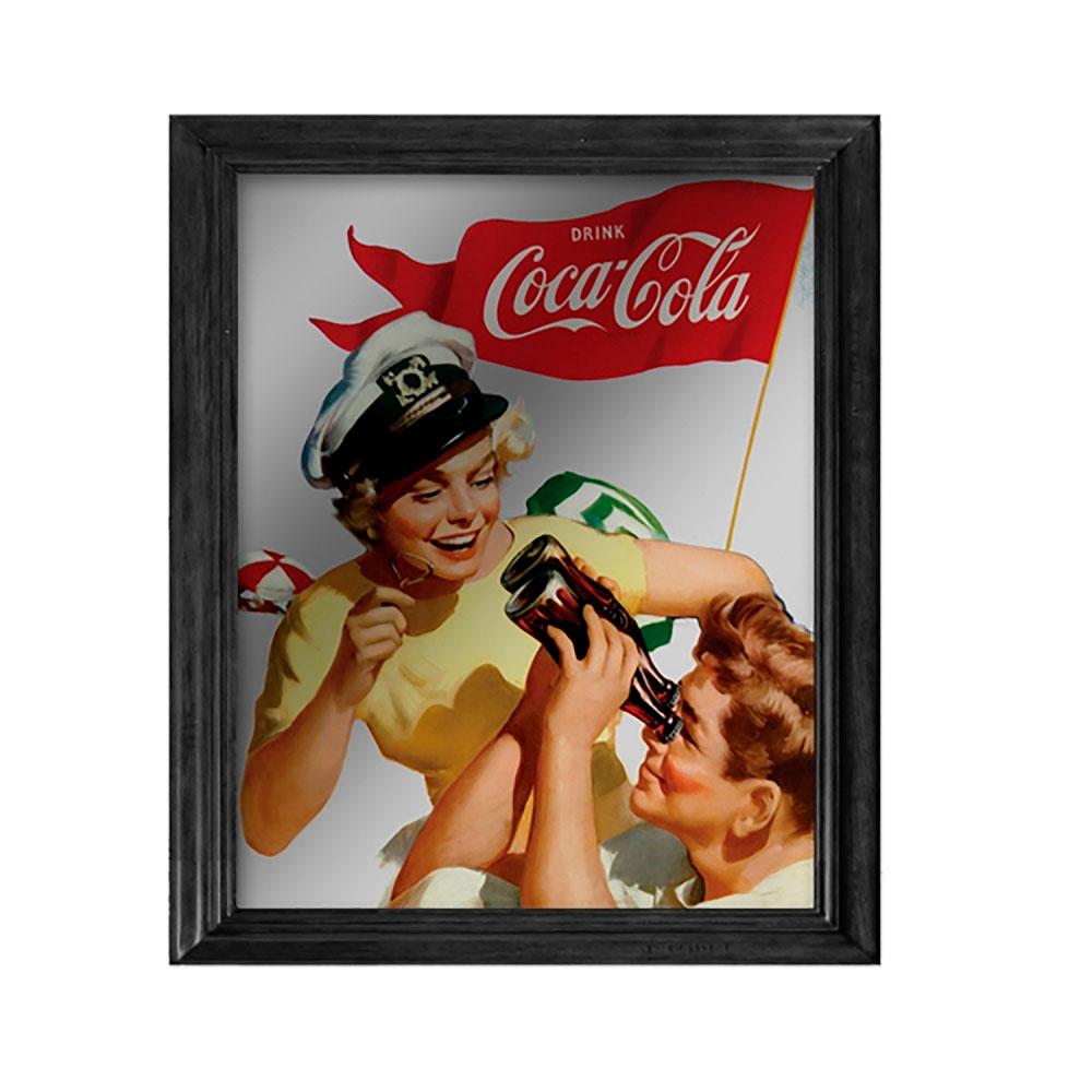 Quadro espelho madeiravidro coca-cola pin up