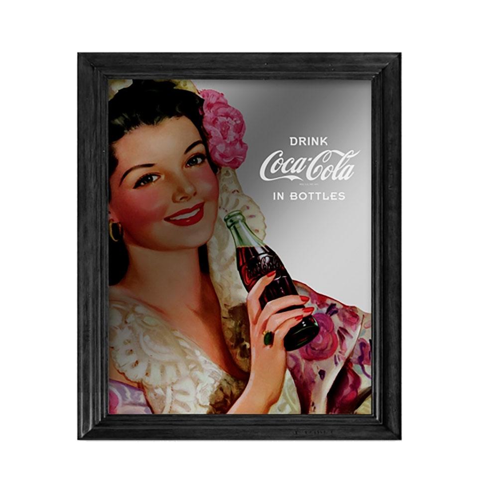 Quadro espellho madeiravidro coca-cola pin up Brunette