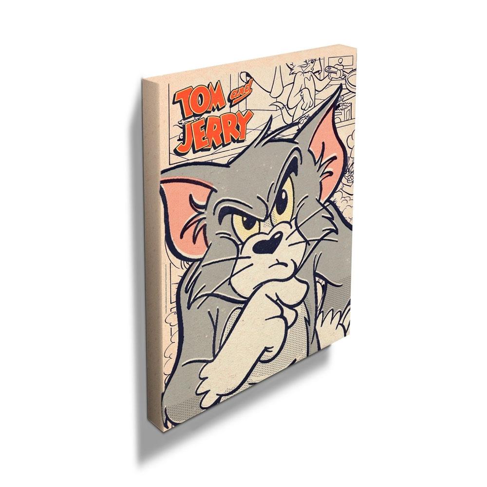 Quadro Tela HB Tom And Jerry Mad Cat Colorido 50 X 70 X 2,5.