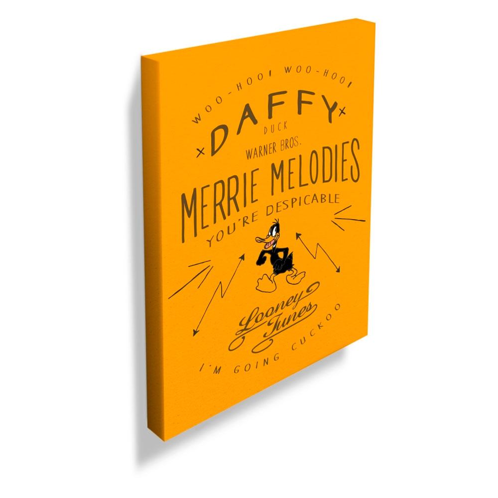 Quadro Tela Looney Daffy Duck Merrie Melodies FD Amarelo