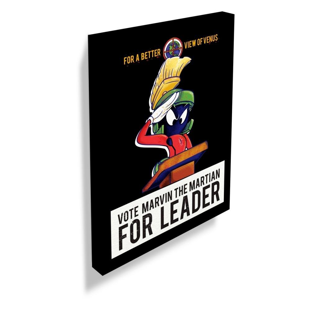 Quadro Tela Looney Marvin Vote For Leader FD Preto
