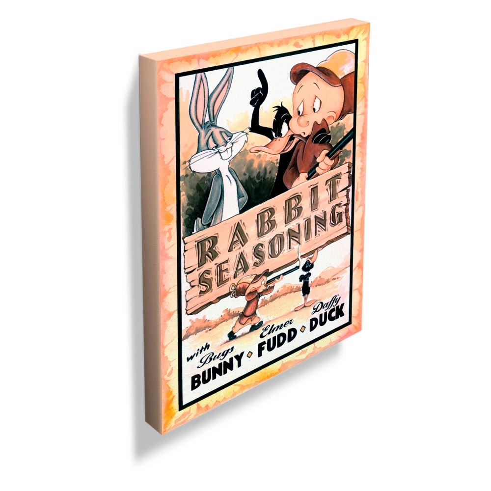 Quadro Tela Looney Rabbit Seasoning Movie Poster Colorido