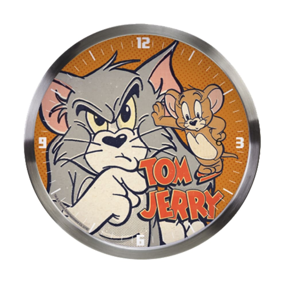 Relógio Parede Aluminio Hb Tom And Jerry Mad Cat Mouse