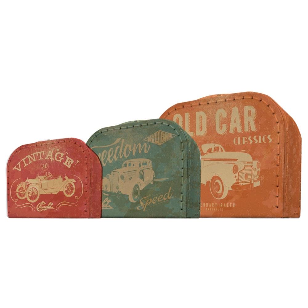 Set 03 Maletas Papelão GM Vintage Cars And Colors FD