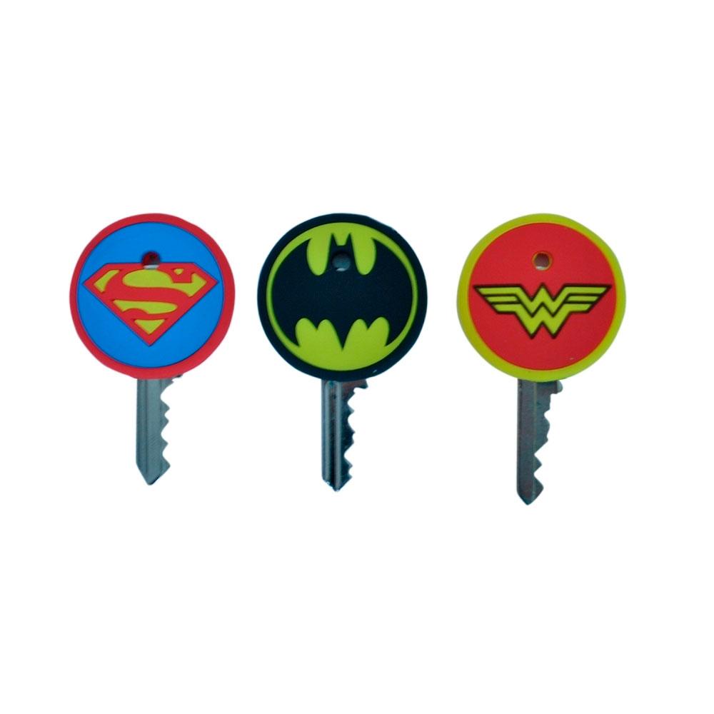 Set 3 Capas Para Chaves PVC Heróis Signs DC