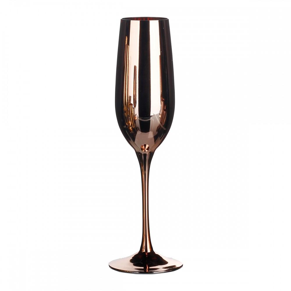 Taças De Champagne De Vidro Cor Cobre 6 peças