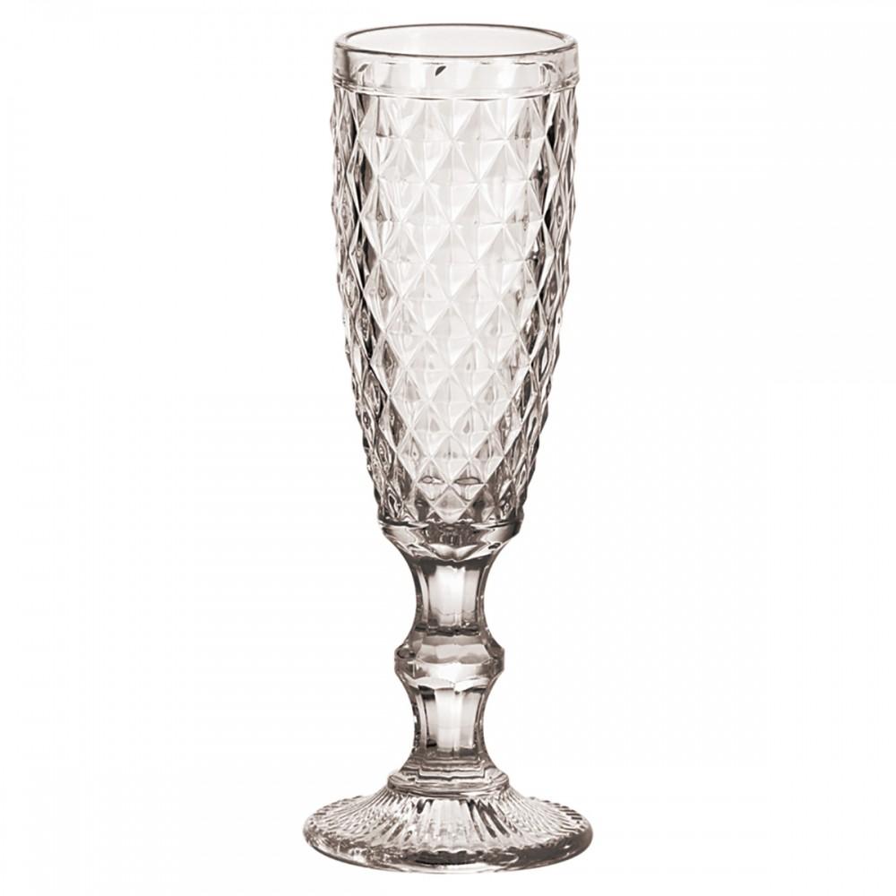 Taças De Champagne De Vidro Transparente lux 140ml 6 Peças