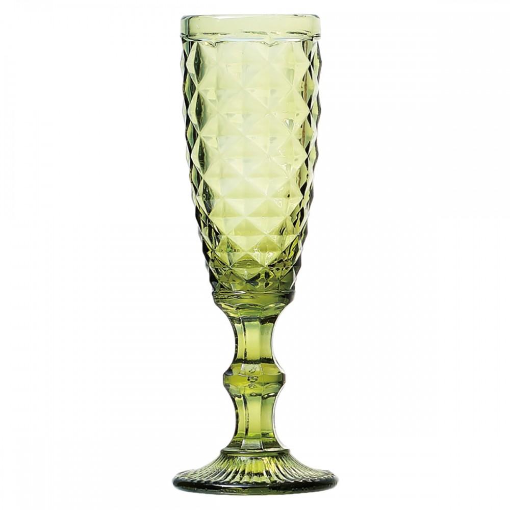 Taças De Champagne De Vidro Verde lux 140ml 6 Peças