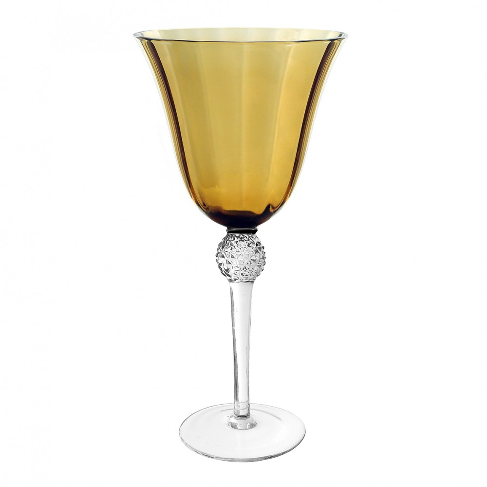 Taças De Vinho De Vidro Cristalino Amarela 285ml 6 Peças