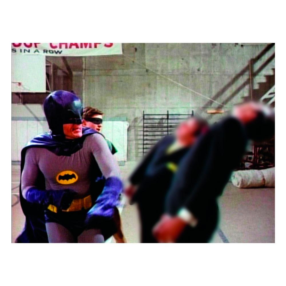 Tela Movie Batman and Robin Fighting Black Ties Guys