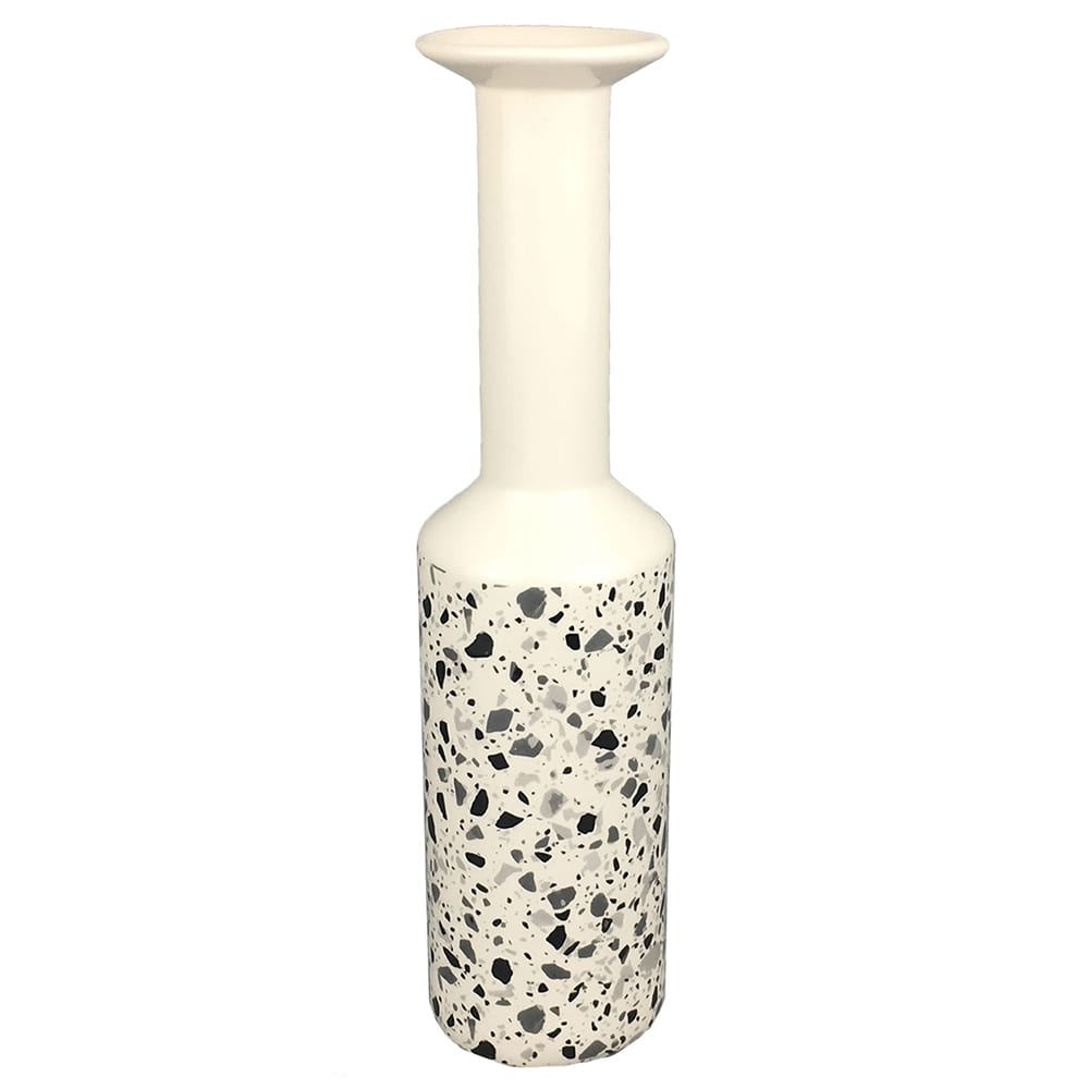 Vaso De Cerâmica Branco Estilo Quartzo 32cmx ø08cmx08cm