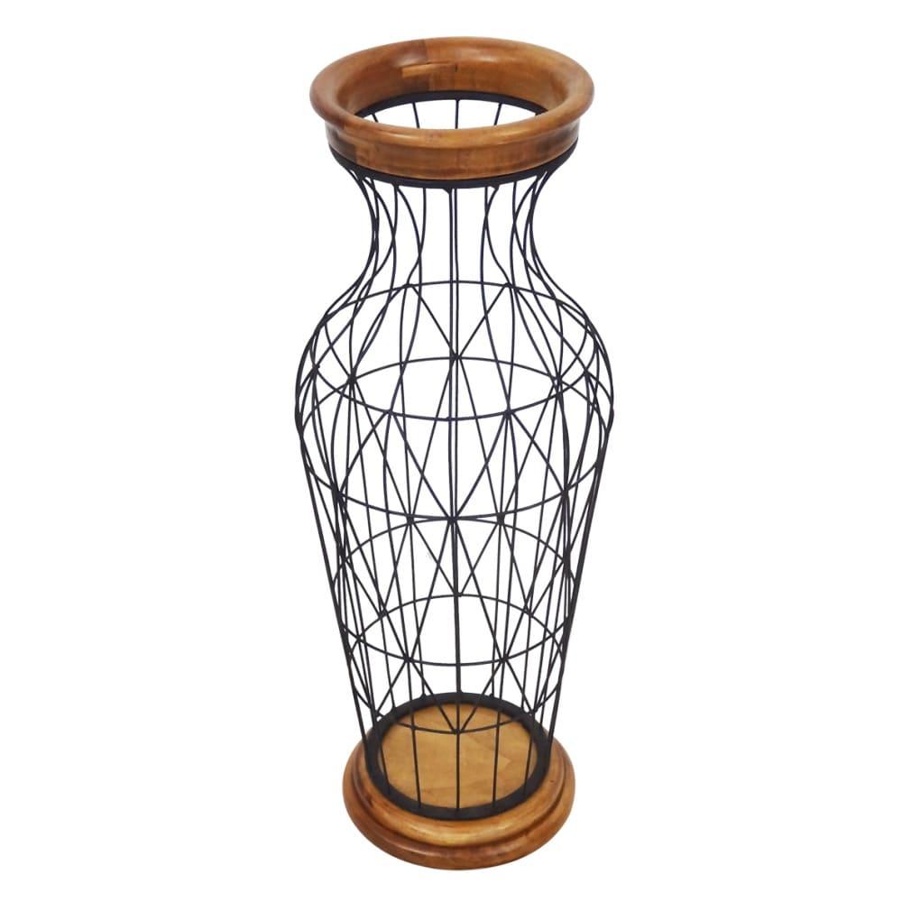 Vaso de Ferro e Madeira 57cmx22cmx22cm