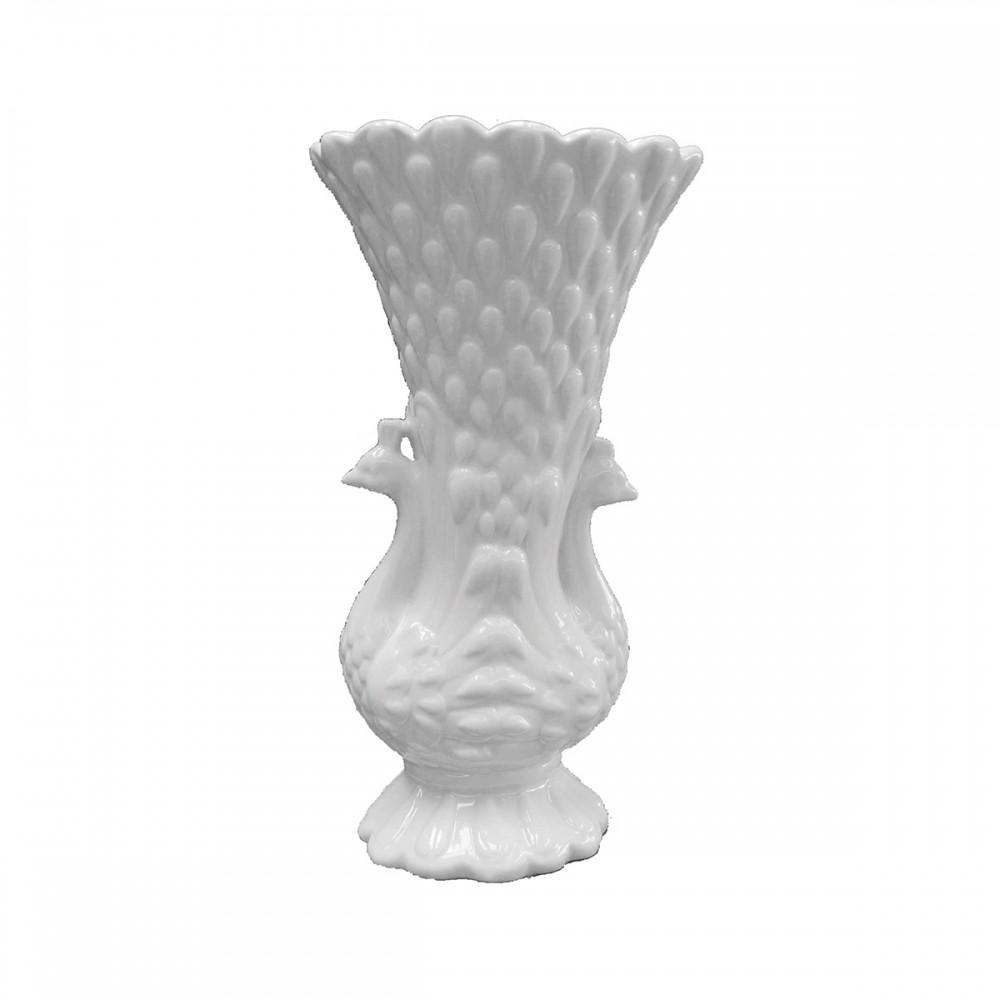 Vaso Decorativo de Cerâmica Branco Bec 31cmx17cmx12cm