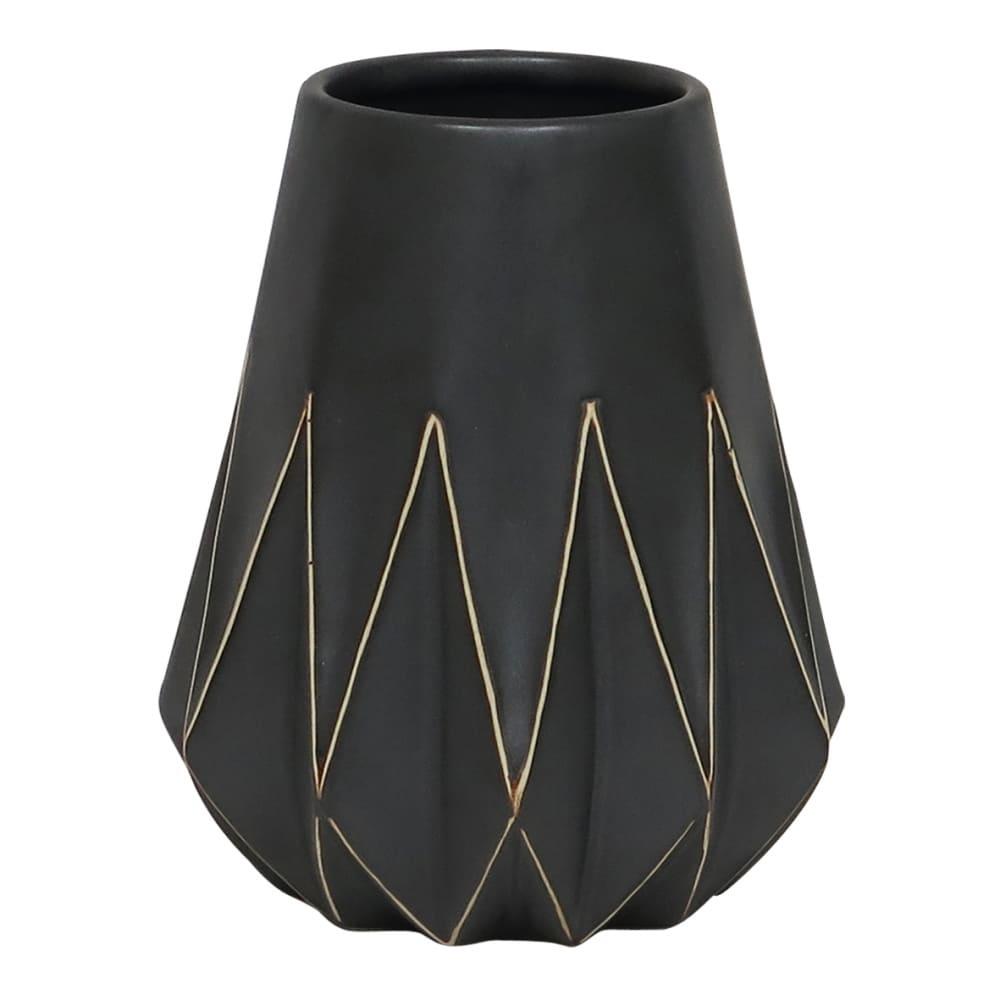 Vaso Geométrico de Cerâmica Preto 16cmx13cmx13cm