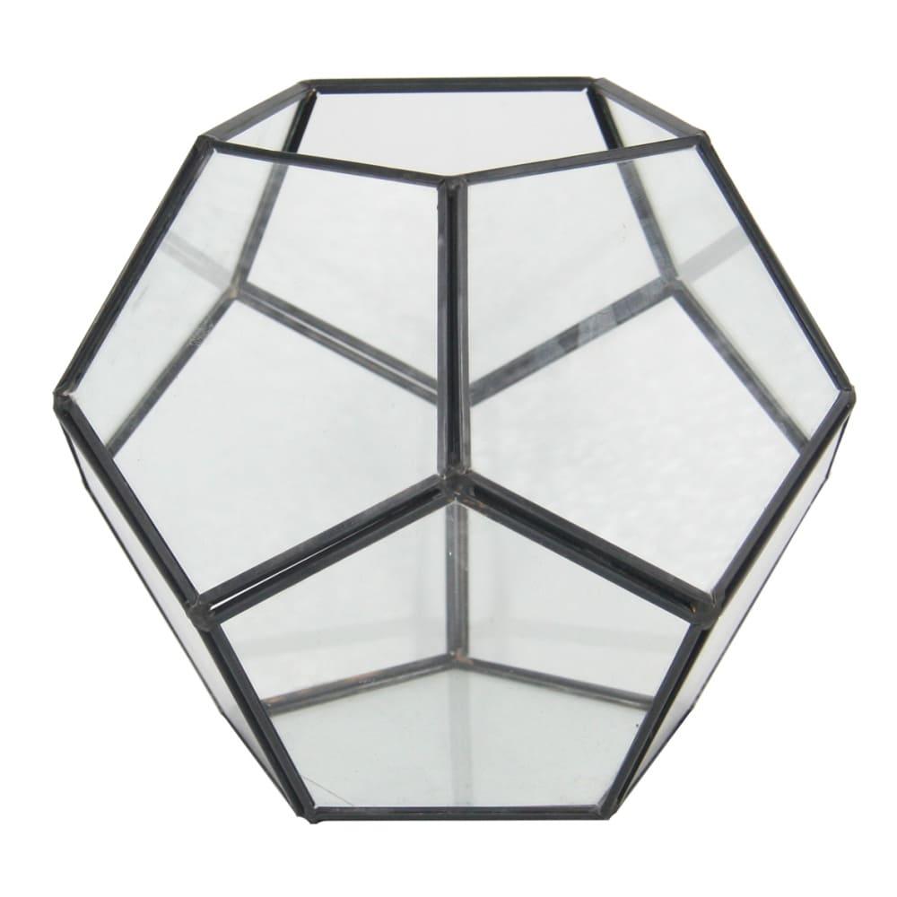 Vaso Geométrico de Vidro e Metal 12cmx14cmx14cm