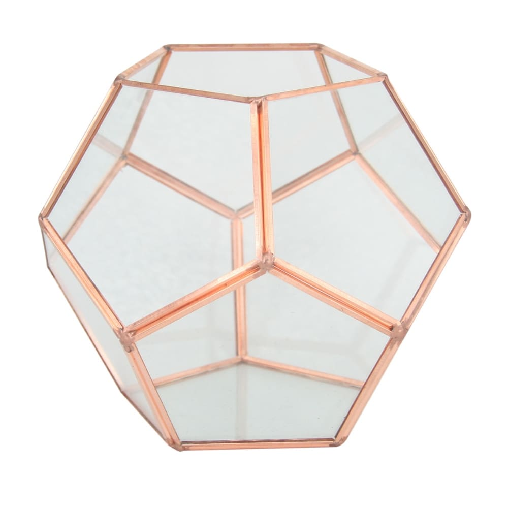 Vaso Geométrico de Vidro e Metal Rose 12cmx14cmx14cm