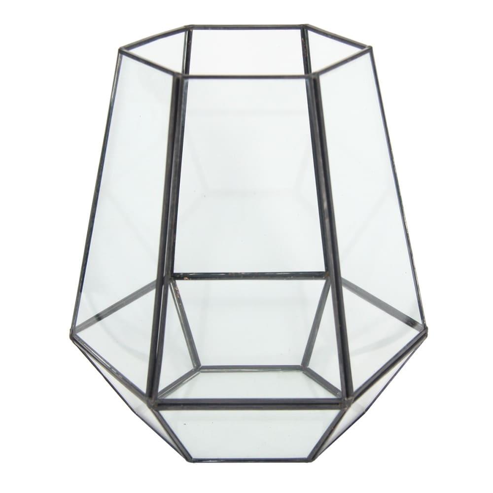Vaso Sextavado Vidro Metal Preto 19cmx15cmx17cm