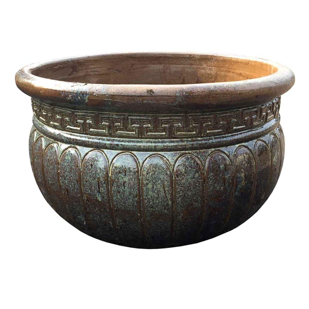 Vaso Vietnamita Cerâmica Oval Grande 46cmx62cmx62cm
